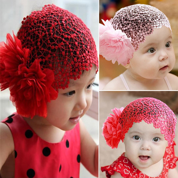 Toddlers Girls Kids Lace Hat Big Flowers Hat Sewing Cap Headband 1-6T 2 Colors(China (Mainland))