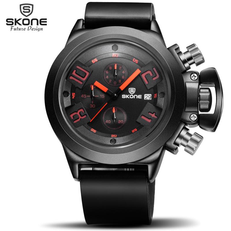 SKONE Brand Men's Popular Watches Date Chronograph Sport Watch Men Guaranteed Military Watch Silicone Wristwatch Fashion Relogio(China (Mainland))