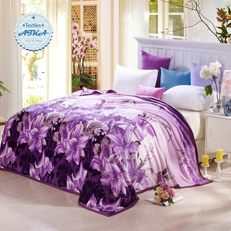 Coral Fleece blanket on the bed home adult Plaid Flower beautiful blanket warm winter sofa travel blanket purple portable #2(China (Mainland))