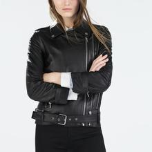 2015 Newest Women Motorcycle Faux Leather Jacket With Belt Zipper Slim Fit PU Turn Down Collar Black Brief Fashion Coats Hot(China (Mainland))
