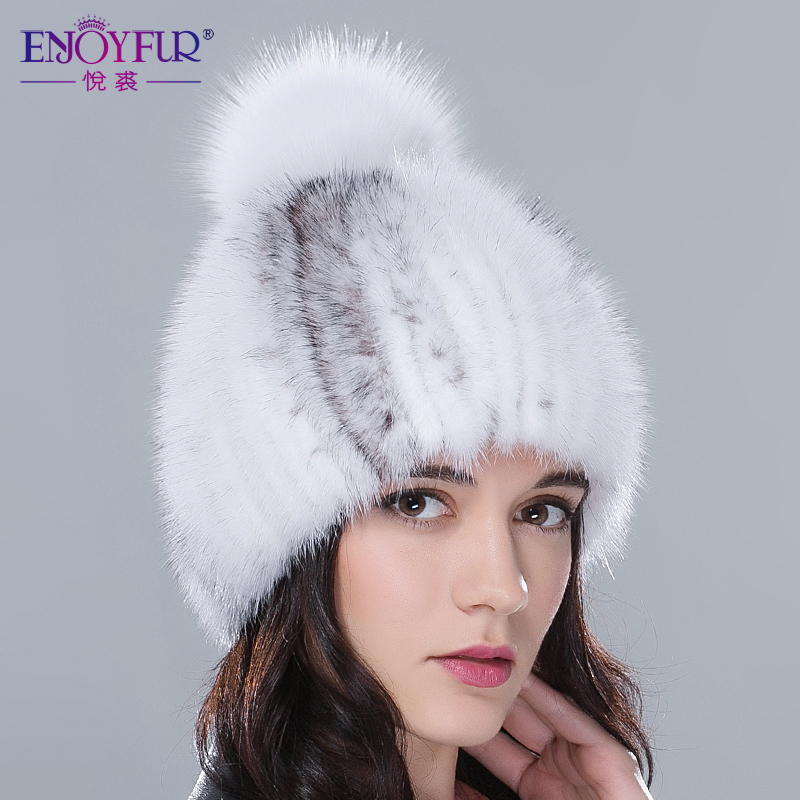 Гаджет  Real mink fur hats for winter women fur cap with fox fur pom pom top 2015 new sale high quality luxury female knitted beanies None Одежда и аксессуары