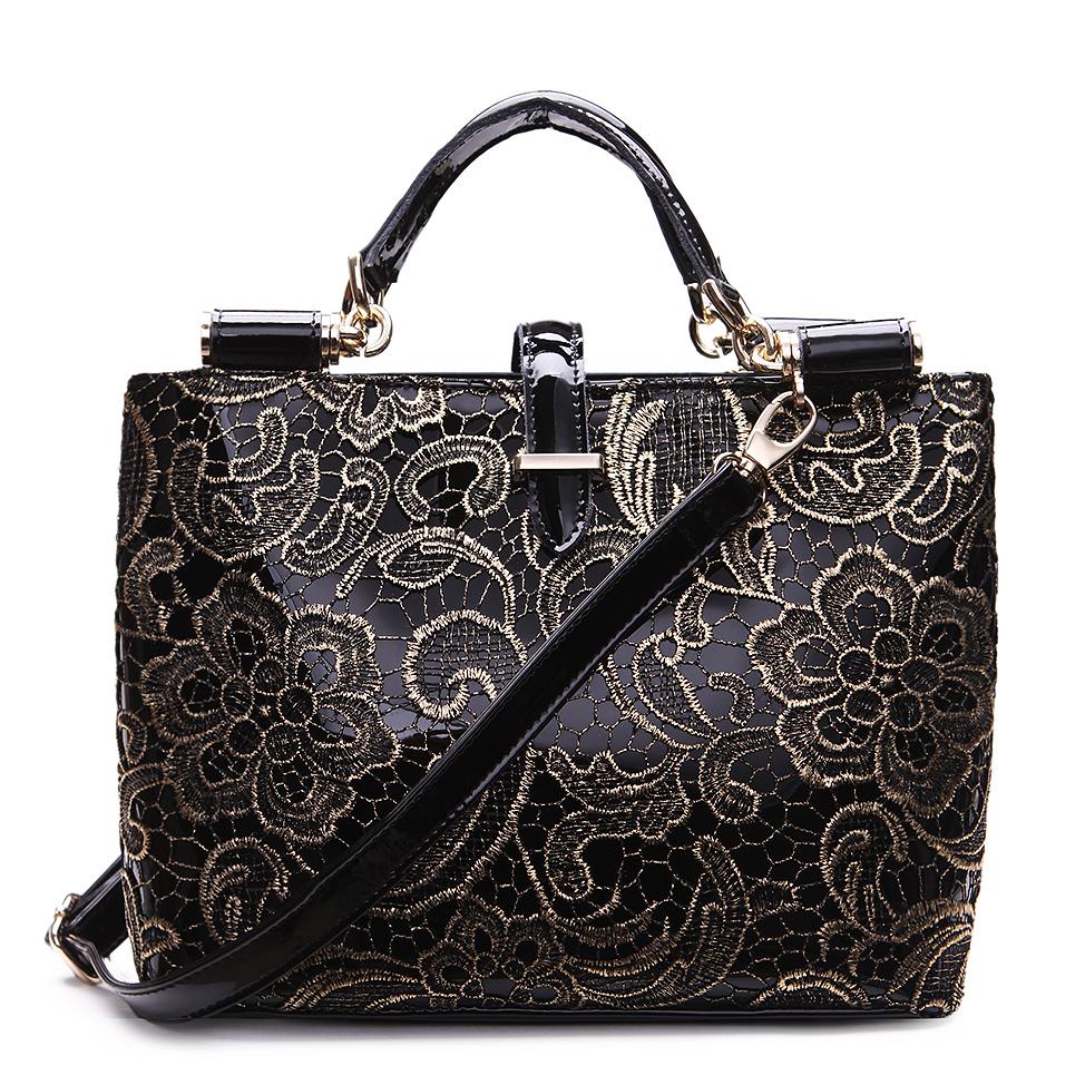 2015 Vintage Lace Bags For Women Leather Handbags Tote Bags Female Retro Black Handbag Flower Grab Bag Ladies Free Shipping(China (Mainland))