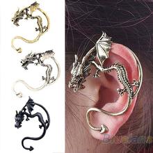 Retro Vintage Black Silver Bronze Punk Temptation Metal Dragon Bite Ear Cuff Clip Wrap Earring Earrings Wholesale Sale 02G3 3961(China (Mainland))