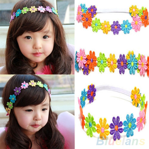Cute Children Baby Hair Band Girl Colorful Sunflower Lace Flowers Headband 2KB6(China (Mainland))