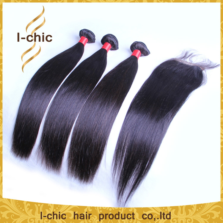 6A unprocessed brazilian virgin hair straight with closure 3 or 4 bundles with 4*4 lace closure human hair weave with closure(China (Mainland))