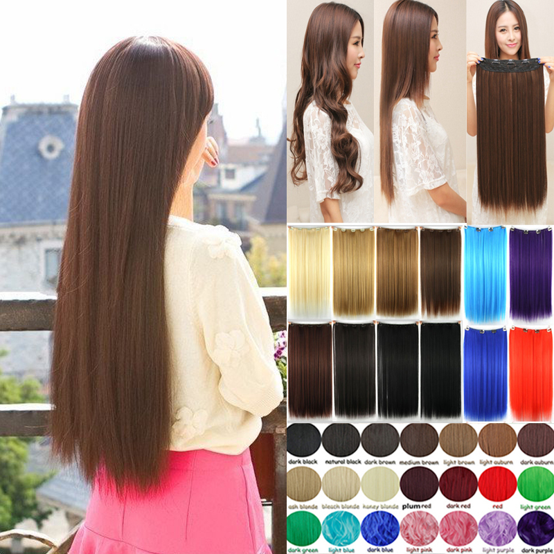 2015 Hot Sale Promotion 5 Pieces Clip In Hair Extensions Sythetic Hair Blonde Brown Black Red Purple Straight Hair T31<br><br>Aliexpress