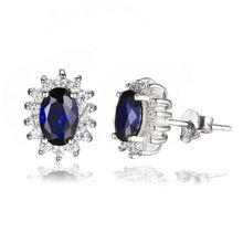 JewelryPalace Принцесса Диана Уильям кейт Миддлтон 1.5ct Создана в Синий Сапфир Серьги Pure 925 Стерлингового Серебра Ювелирные Изделия(China (Mainland))
