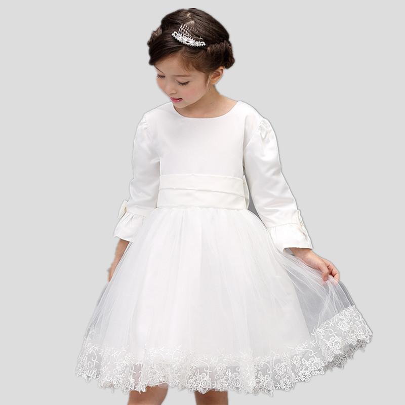 Knee Length First Communion Dresses For Girls Lace Hem Long Sleeves Kids Gown Flower Girl Dress