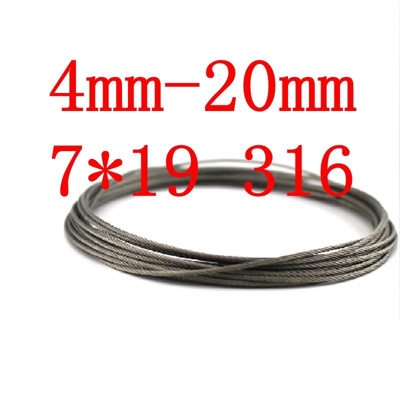 4mm-20mm customized 7*19 Stainless Steel Wire Rope 7 x 19 Marine Seaworthy Grade SS 316(China (Mainland))