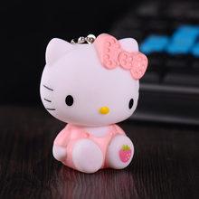 Pvc bonito Dos Desenhos Animados Do Gato Olá Kitty Boneca Chaveiro Corda de Couro Titular da Chave Sino de Metal Da Corrente Chave Chaveiro Charme Saco Auto presentes pingente(China)