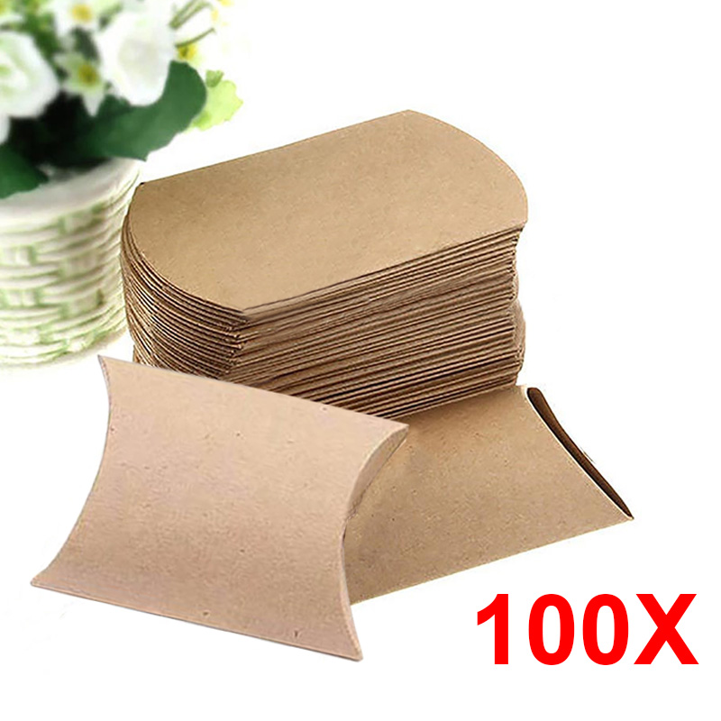 Cute Kraft Paper Pillow Favor Gift Box Wedding Party Favour Gift Candy Boxes Paper Gift Box Bags Supply 100pcs(China (Mainland))