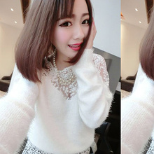 2015 New winter spring fashion lace Mohair sweater casual Tricotado long cardigan womens sweaters blouse GFF216(China (Mainland))