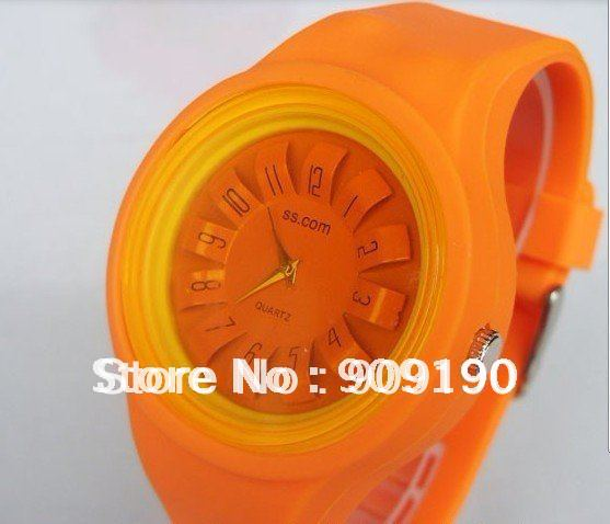 Free shipping-100pcs/lot- hot sale 11 colors chrysanthemum shaped silicone jelly watch for factory price(China (Mainland))