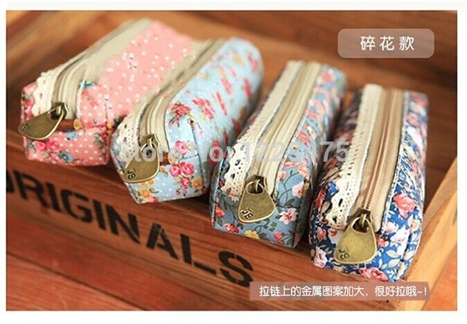 Freeshipping/ New vintage flower lace series pencil bag/pencil pouch/pen case/cotton bag(China (Mainland))