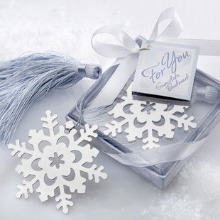 DHL free shipping Snowflake Bookmark with Silver Finish and Elegant Ice-Blue Tassel Wedding Gifts For Guests