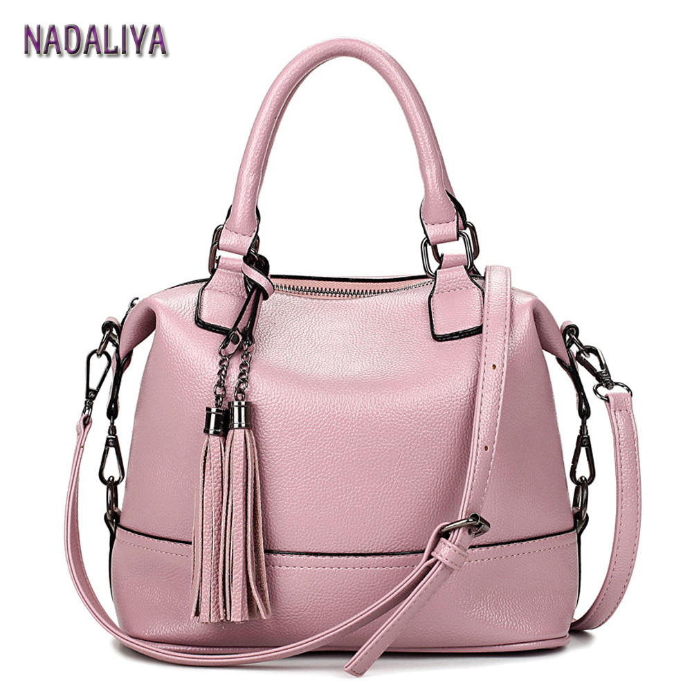 NADALIYA 2017 Women Pink Totes Bag High Quality Leather Women's Messenger Shoulder Bags Tassel Handbags Fashion Lady Bag Women(China (Mainland))