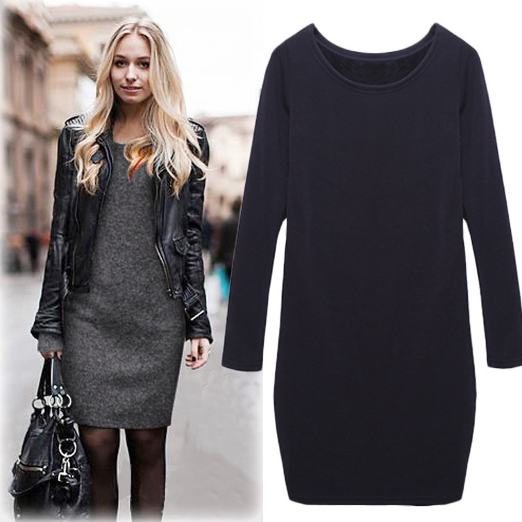 M-XXXXXL Woman Large Solid Brief Plus Thick Velvet Corduroy Dress Sheath Long-Sleeve Knee-Length Basic Dress For Spring Autumn(China (Mainland))