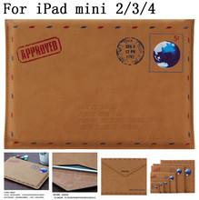 Retro style original quality PU Leather Envelope Case for ipad mini 2 3 4 ,SKU 0136AA(China (Mainland))