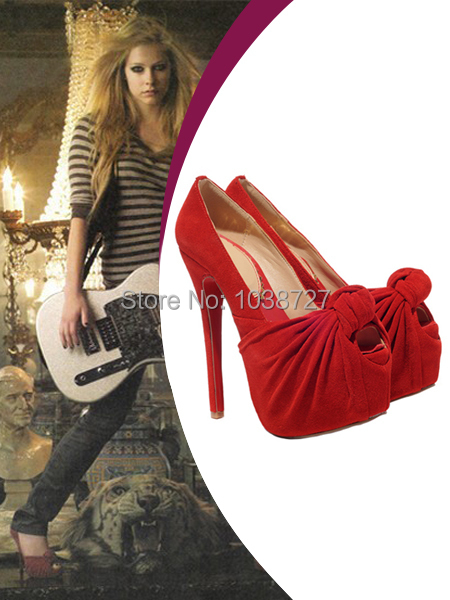 Avril Lavigne Heels red velvet peep toe twist vamp platform bottom covered stiletto 140 mm heels pumps