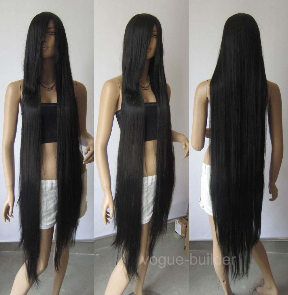 130cm Long Black Heat-resistant fiber Straight Cosplay Hair парик for women wig fast deliver