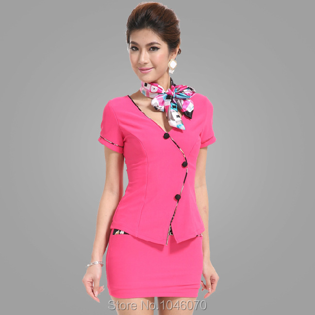 S-3XLdrop shipping 2015 women clothing set 2 piece set women KTV club stewardess uniforms sexy foot sauna technician dress suit