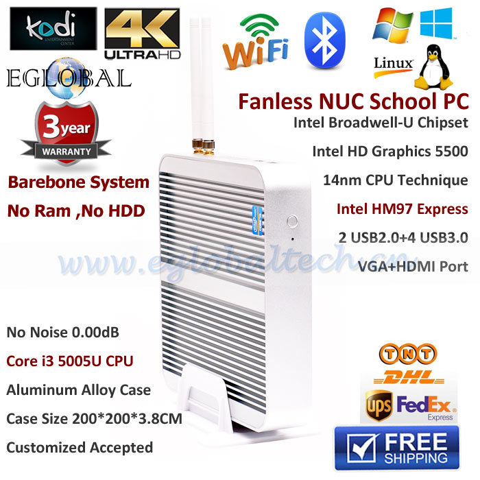 New Arrival Barebone No Memory Mini PC Smart TV BOX Windows 8.1/OpenELEC Kodi Dual OS Intel Core i3 5005u HD5500 GPU Upto 1G(China (Mainland))