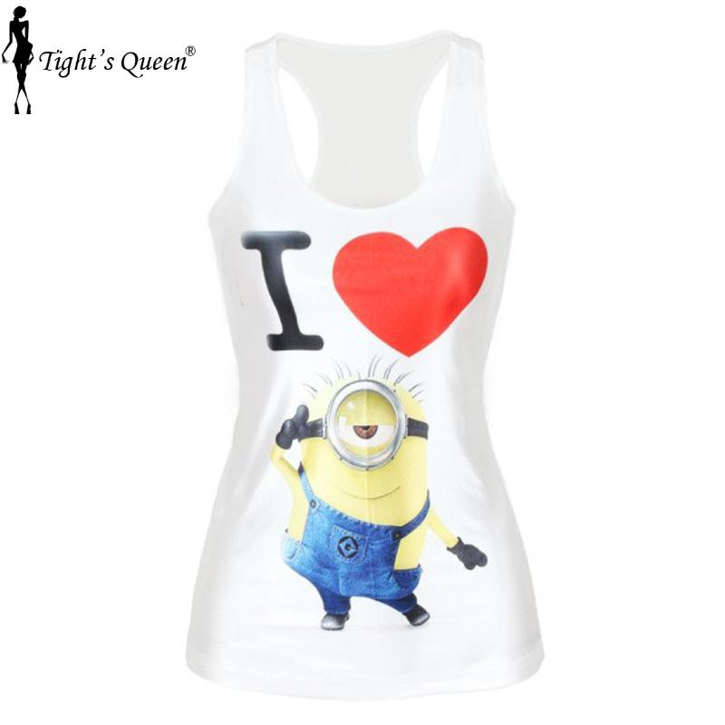 V154 Tim the Minions Camisole Despicable Me Print yellow Women t-shirt Fashion Crop tops Sexy Women Clothing(China (Mainland))