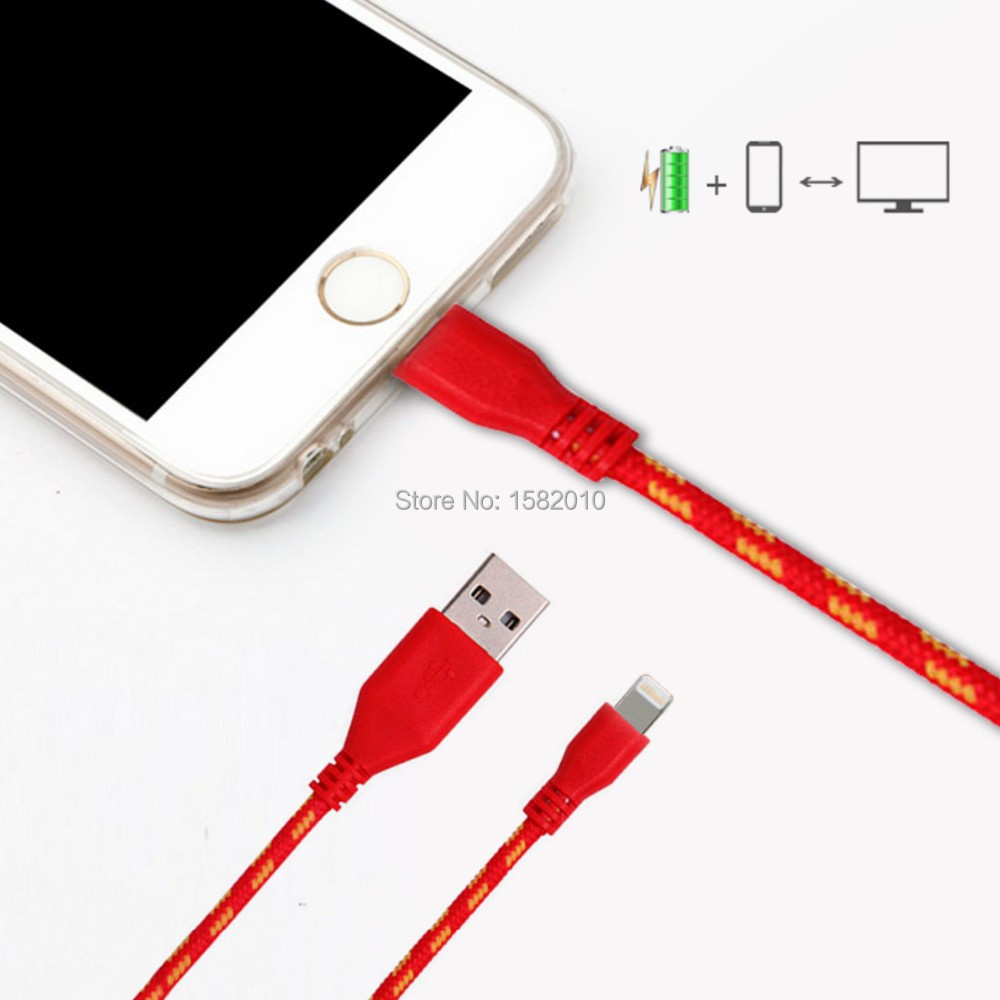 Braided Fabric USB Cord Data & Sync Charger Cable For iPhone 6 6Plus 5 5S 5C 1M Wholesale Mini USB Cable for ios(China (Mainland))