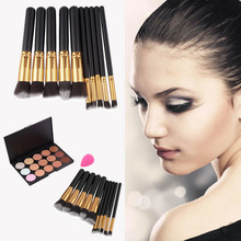 15-Colors Makeup Face Concealer Palette + 10pcs Brushes Set + Sponge Puff Free shipping(China (Mainland))