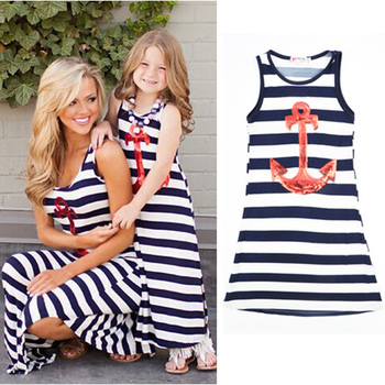 summer Girls Kids Dress Fashion White Striped Princess Dresses Anchor pattern Mother girl Family fitted Maxi dress kids clothes
