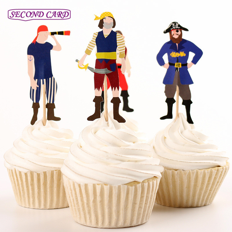 2016 new 24pcs cupcake toppers cool pirate popular with for New home cupcake decorations
