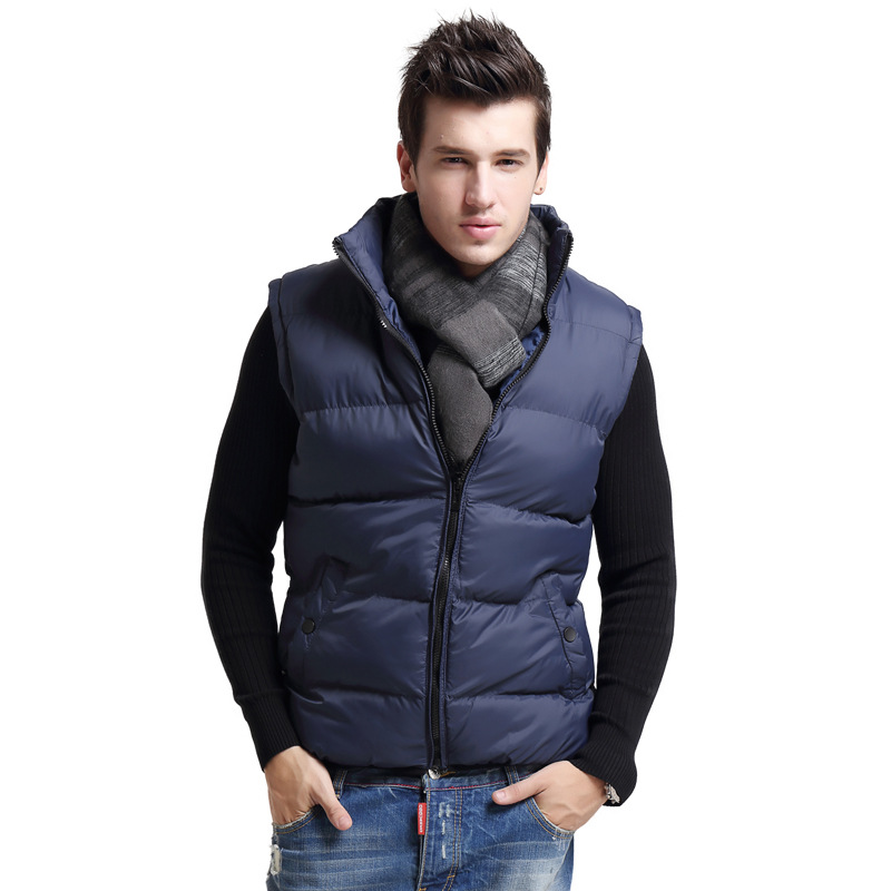 Winter Mens Vest Solid Keep Warm Thick Waistcoat No Sleeve