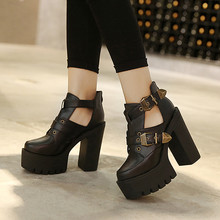 2016 Spring Autumn Female Pumps Round Toe Platform Thick High Heeled Women Single Shoes Casual Cut