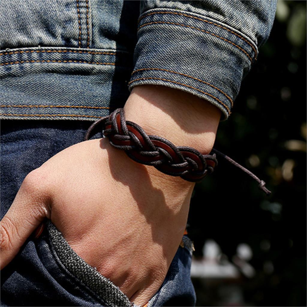 Braided Handmade Genuine Leather Bracelets Fashion Brown Bracelets bangle for Women Men Jewelry Accessory Wholesale 2015
