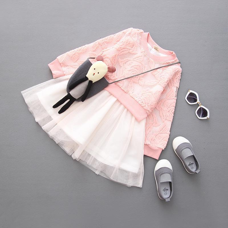 Retail Girls Autumn Long Sleeve Patchwork Dress Rose Lace Tutu Dresses Flower Flower 1076(China (Mainland))