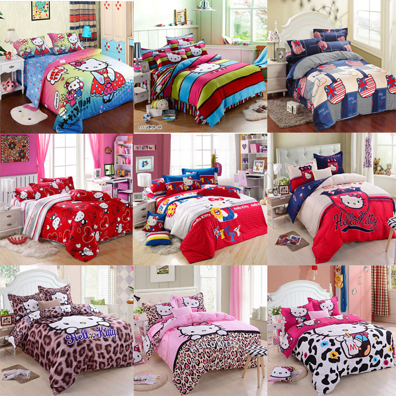 cotton hello kitty queen size twin queen king size bedding set bed