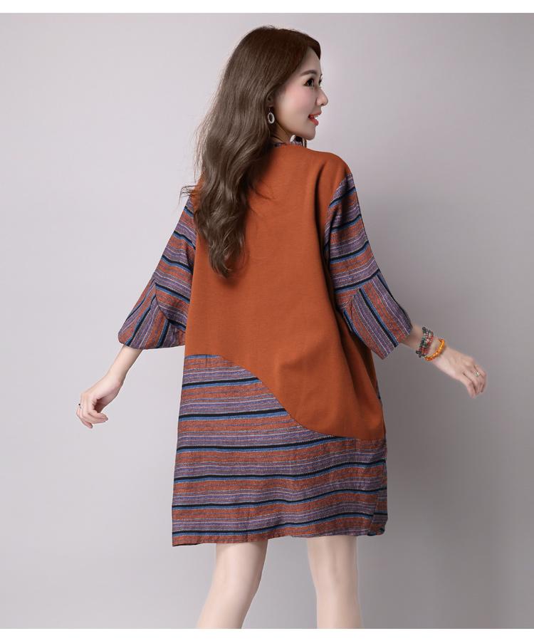 2016 Autumn Long Sleeve Women Cotton And Linen Dresses Patchwork Casual Plus Size Comfortable Loose Dress