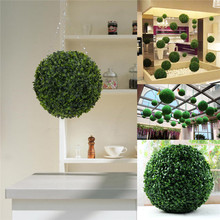 Modern Plastic Topiary 28cm Artificial Leaf Effect Ball boxwood grass Ball indoor outdoor Hanging decoration(China (Mainland))
