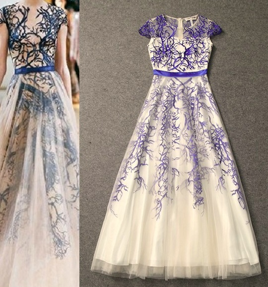 Amazing!2014 Spring Europe New Fashion Gauze Embroidery Big Expansion Evening Long Dress Formal Occation Blue Red Color