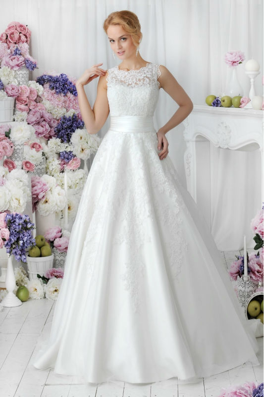 Simple Wedding Dress High Neck : Simple elegant wedding dress high neck new romantic