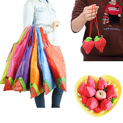 Large Strawberry Resuable Nylon Foldable Grocery Bag Retail Shopping Tote Bag(China (Mainland))