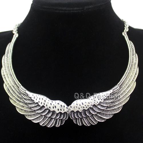 Retro Silver Big Angel Guardian Wing Statement Chain Collar Choker Bib Necklace Jewelry Free Shipping(China (Mainland))