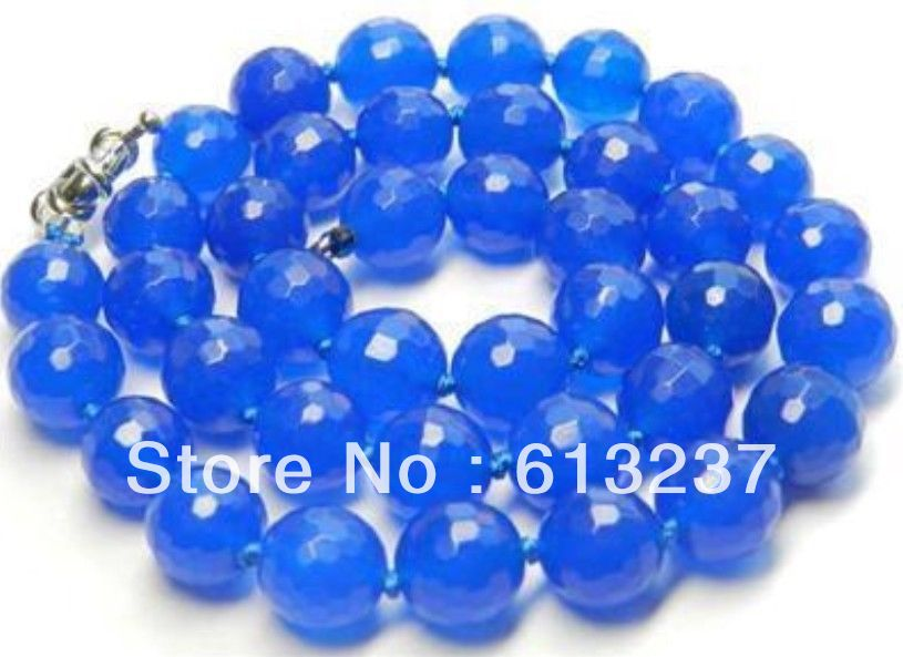 """hot free Shipping new 2014 Fashion Style diy 10mm Faceted Blue jasper Round beads Necklace 18"""" MY5342(China (Mainland))"""