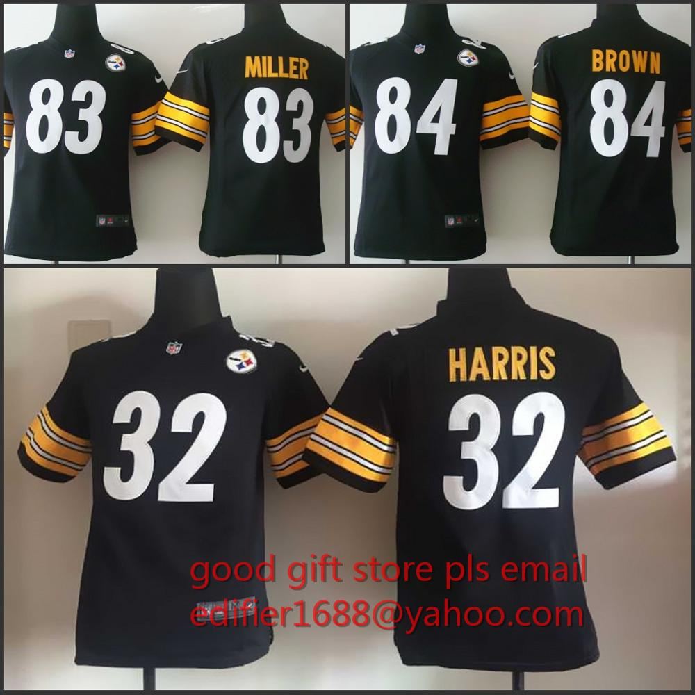 100% stitched youth Pittsburgh Steelers children 32 Franco Harris 83 Heath Miller 84 Antonio Brown Embroidery Logos size S to XL(China (Mainland))