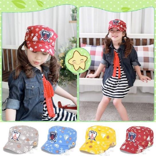 Cartoon Sailor badge Unisex Children Kid Baseball Flat Cap Baby Hat CCAP084(China (Mainland))