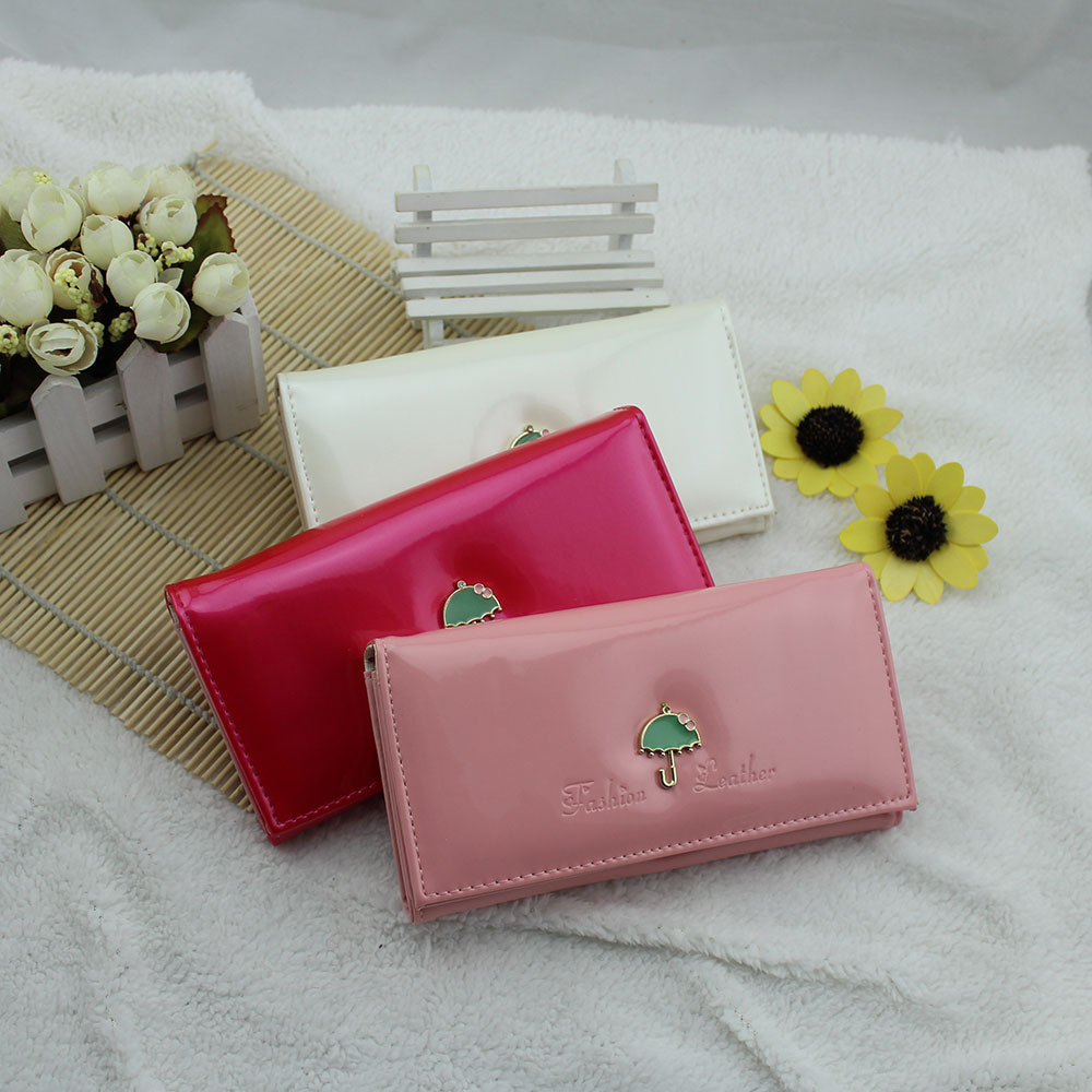 Fashion lady long purse sell like hot cakes The glossy multicolor umbrella logo purse Holding a clutch purse card wallet bag(China (Mainland))