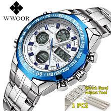 Relogio masculino wwoor relógio masculino 2019 marca superior luxo led grande dial masculino relógios de pulso de ouro à prova dwaterproof água relógio de ouro para homem(China)