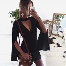 Buy Plus Size 2017 Ladies Women long flare Sleeve Sexy Dress Women Black Club Summer style Dress halter sexy club dresses sleeveless