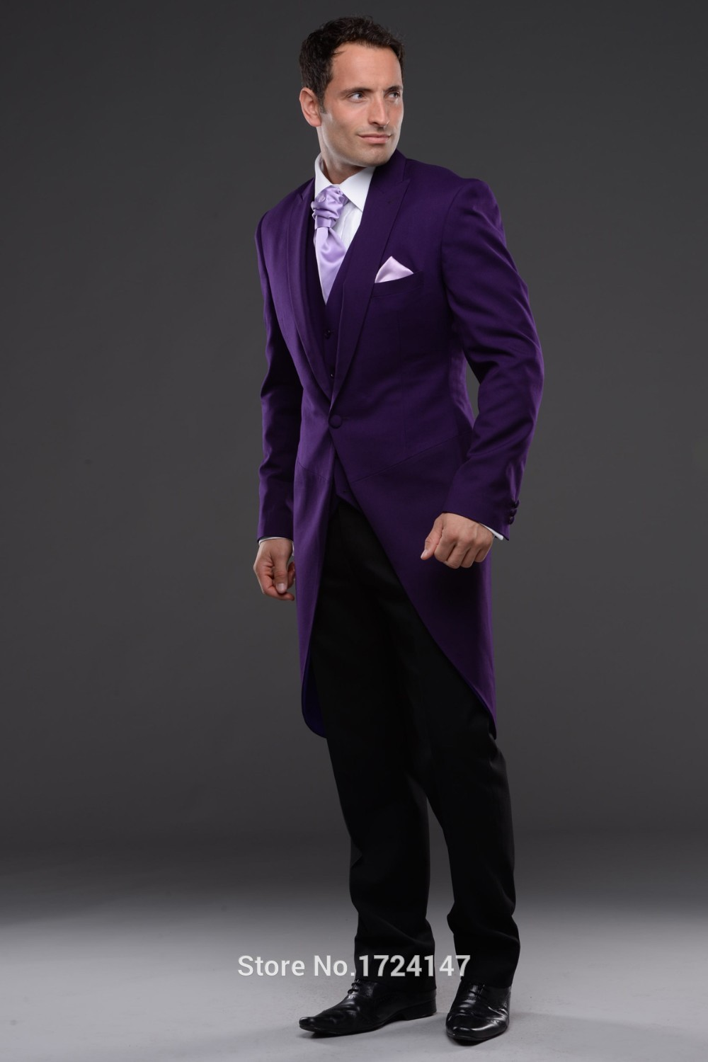 Morning Style One Button Dark Purple Groom Tuxedos Groomsmen Men's Wedding Prom Suits Custom Made (Jacket+Pants+Vest+Tie) K:208