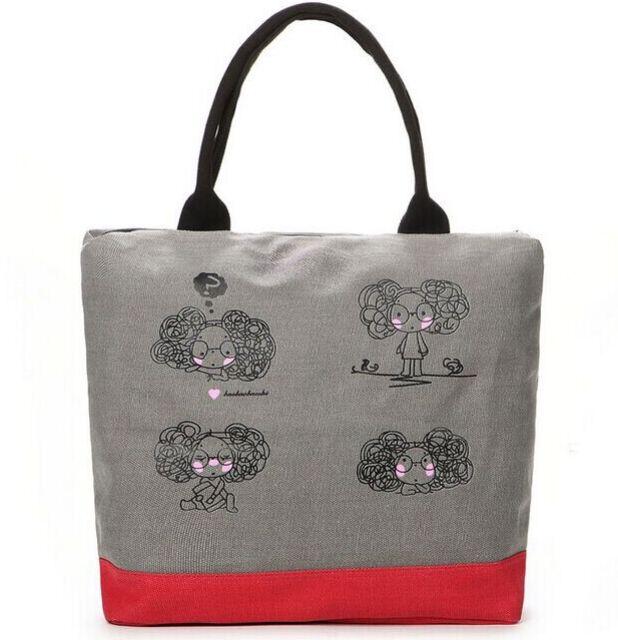 2015 fashion sweet canvas bag textile printing Breezy handbag shoulder bag wholesale free shipping(China (Mainland))